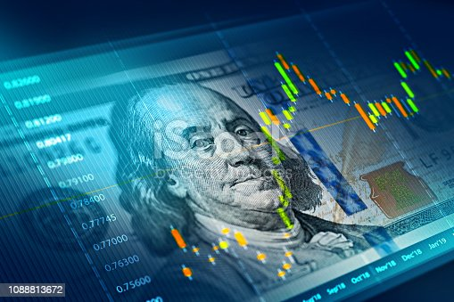 The stock market chart on 100 dollar bill background