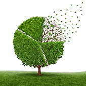 Financial market loss and losing profit as a pie chart in a tree growing green leaves falling off as a business concept of competition pressure as a corporate graph symbol of economic challenges and change on a white background.