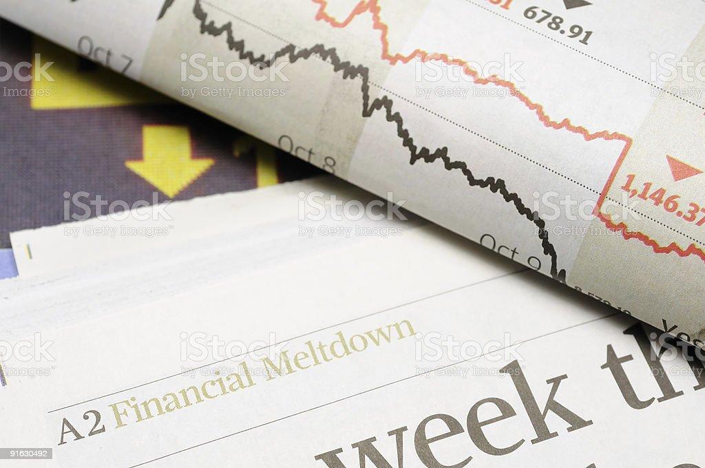 Financial meltdown headlines stock photo