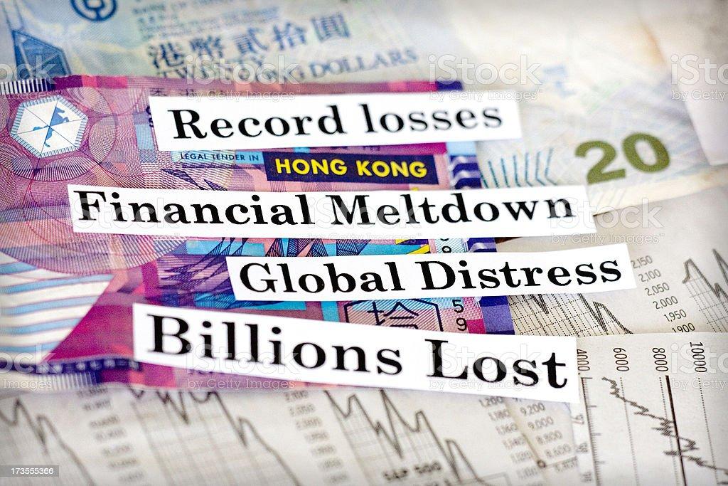 Financial meltdown Hong Kong royalty-free stock photo