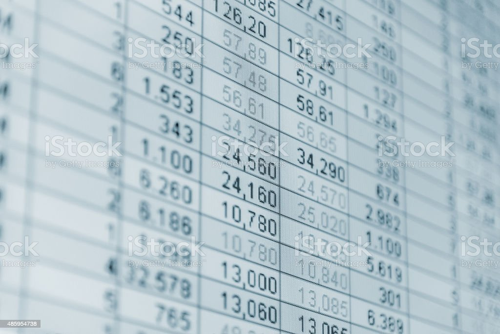 Financial Numbers on lcd screen stock photo