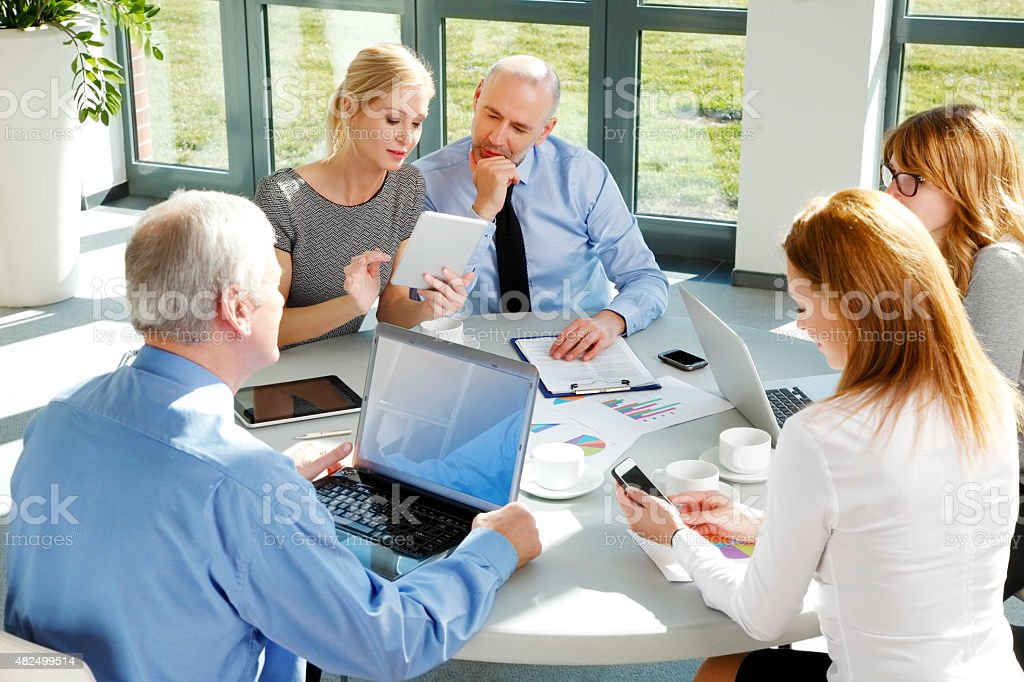 Financial people giving advice stock photo
