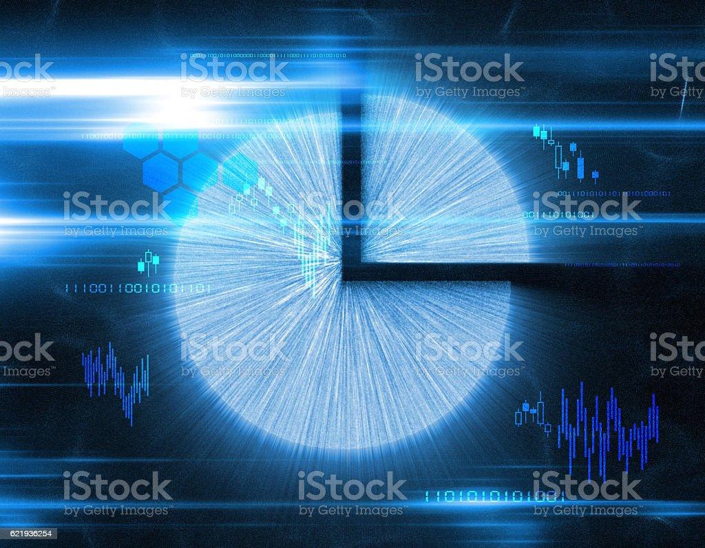 Financial pie charts and economic statistics, stock market data stock photo