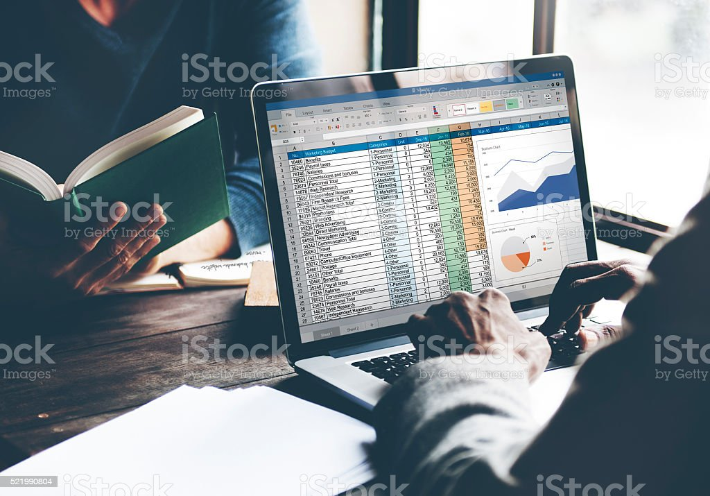Financial Planning Accounting Report Spreadsheet Concept stock photo