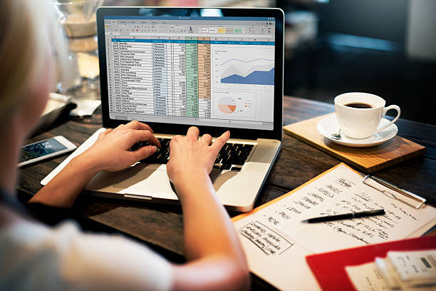 de planificación financiera concepto de contabilidad informe hoja de cálculo. - financial planning fotografías e imágenes de stock