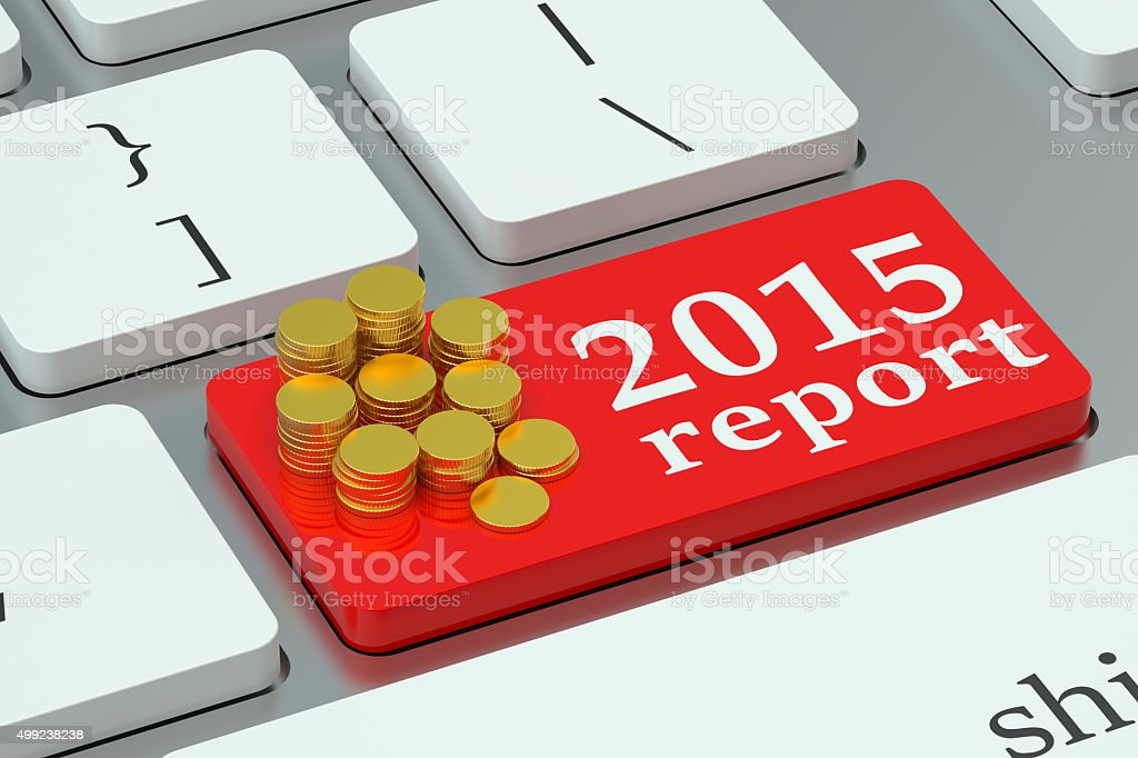 Informe financiero 2015 concepto en el teclado - foto de stock
