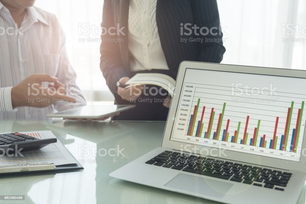 financial report business meeting stock photo