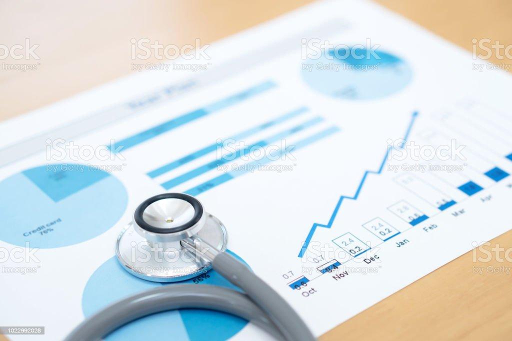Finanzbericht Diagramm und Rechner medizinisches Gutachten und Stethoskop – Foto