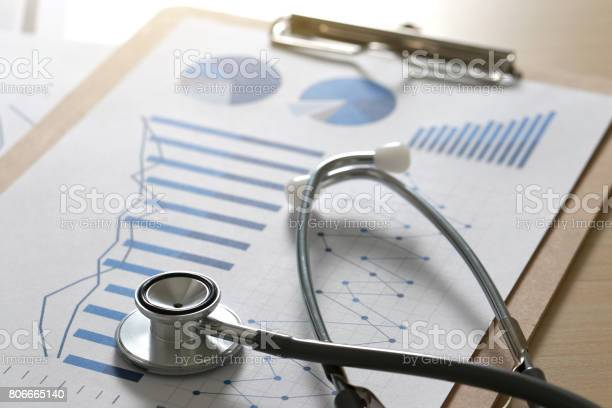 Financial Report Chart And Calculator Medical Report And Stethoscope Stock Photo - Download Image Now