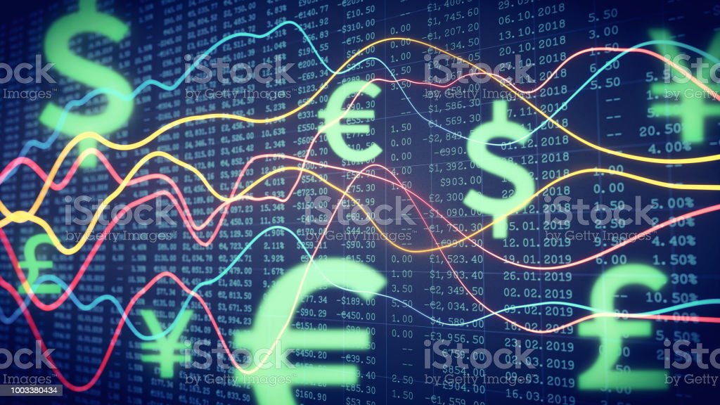 Financial report line chart with spreadsheet & currency symbols