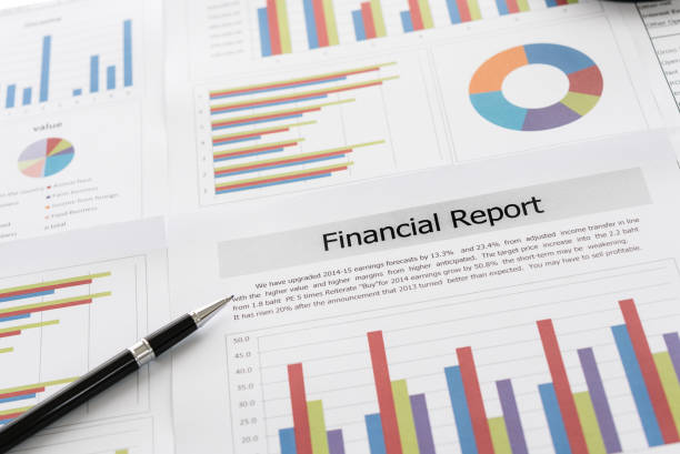 financial report Financial graphs and charts report with pen on desk of business advisor. financial and accounting report concepts. financial report stock pictures, royalty-free photos & images
