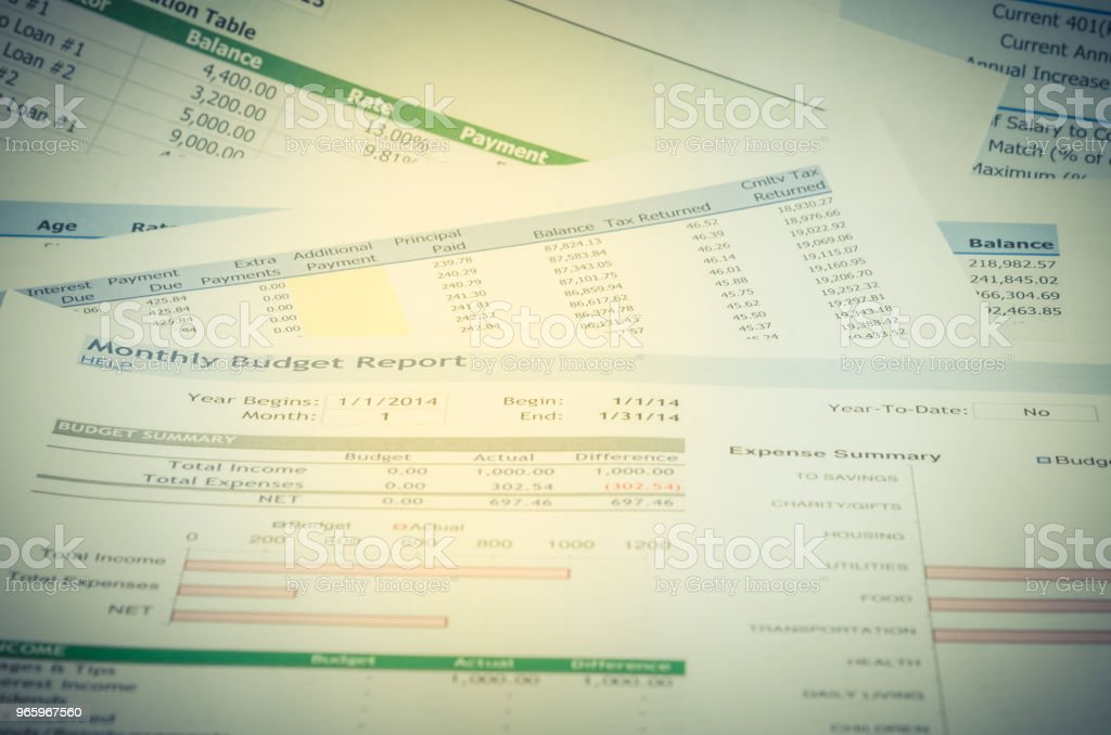 Financial report with money and pen business concept - Royalty-free Annual Event Stock Photo