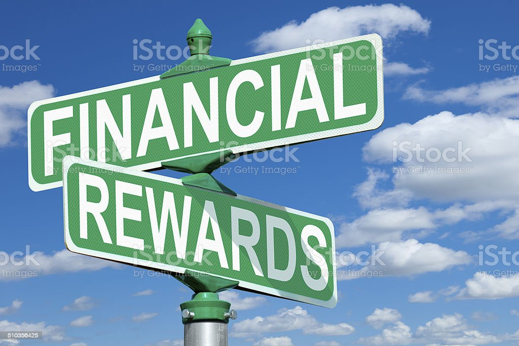 Financial Rewards Street Sign stock photo