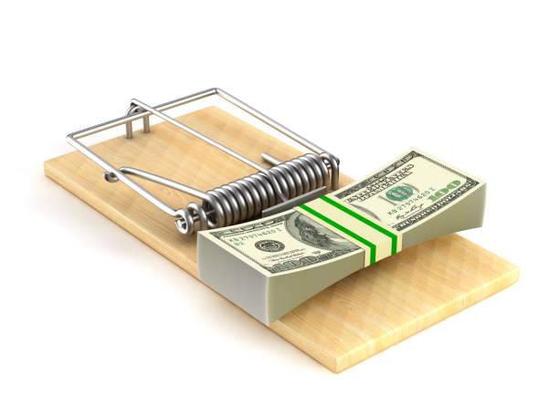 financial risk on white background. isolated 3d illustration - trappola per topi foto e immagini stock