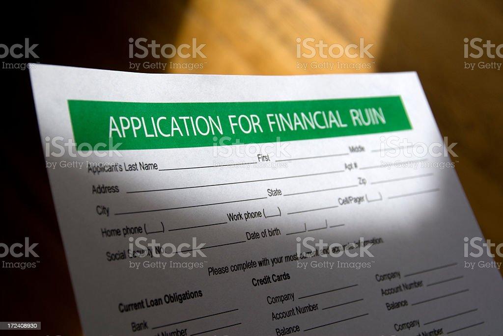 Financial Ruin - Application Form royalty-free stock photo