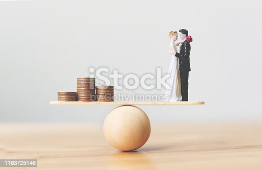 istock Financial save money for wedding. Prepare for marriage expenses 1163725146