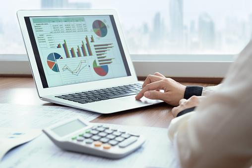 Financial Spreadsheet Report - Fotografie stock e altre immagini di Adulto