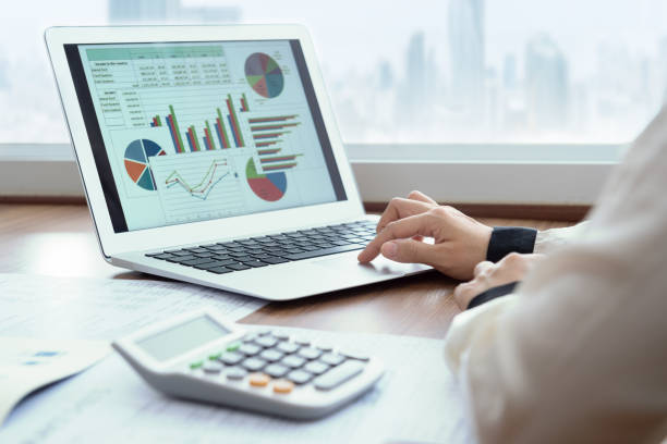 financial spreadsheet report stock photo