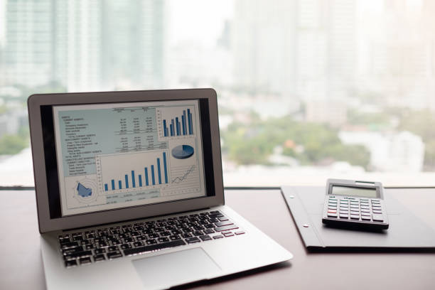 Financial spreadsheet report Financial spreadsheet report.  business presentation software on computer screen by e-learning computer training at home. expense stock pictures, royalty-free photos & images
