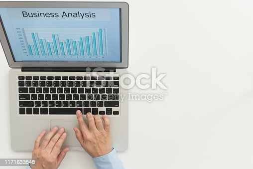 Financial spreadsheet report. Business people using laptop computer to business analysis graph. top view,
