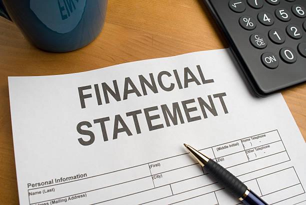 Financial Statement on Desk stock photo