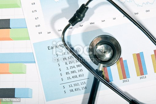 184621300 istock photo Financial statement with stethoscope 525215630