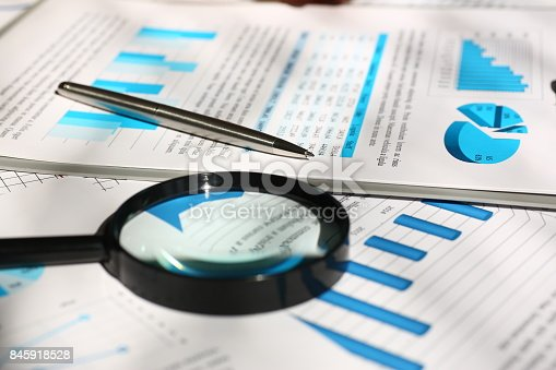 istock Financial statistics documents on table 845918528