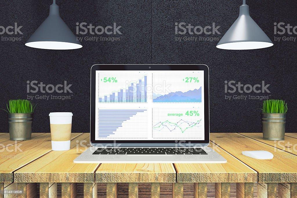 Financial statistics on laptop screen stock photo