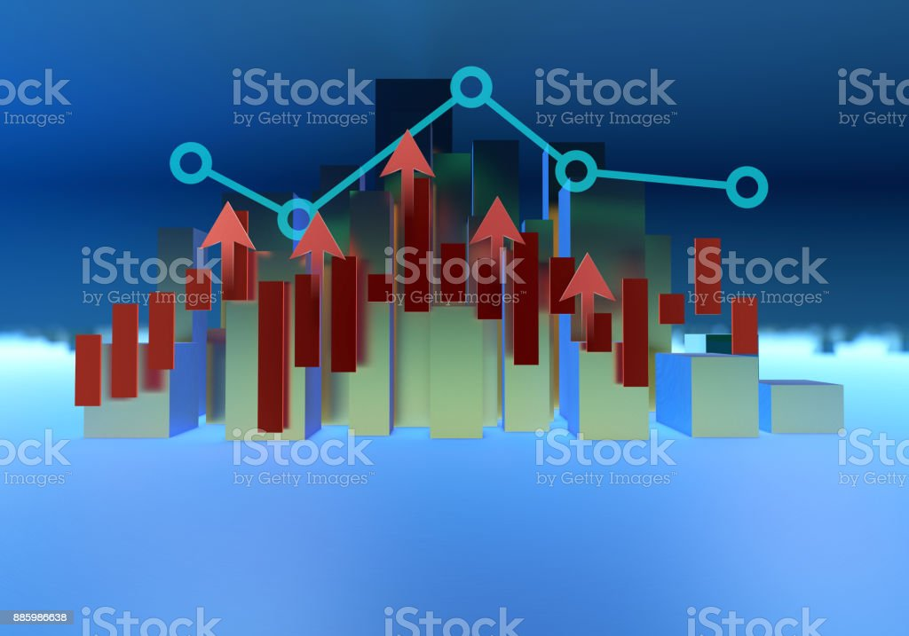 Three-dimensional composite image, on behalf of the financial data,...