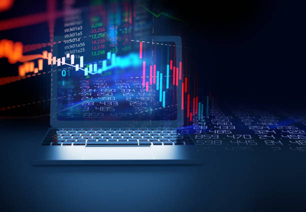 financial stock market graph on laptop screen 3d illustration stock photo