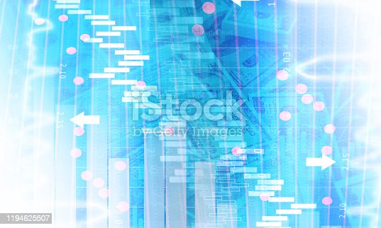 istock Financial stock market graph with candlestick chart 1194625507