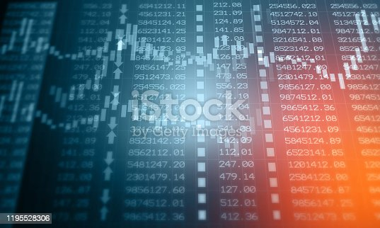 istock Financial stock market graph with candlestick chart 1195528306