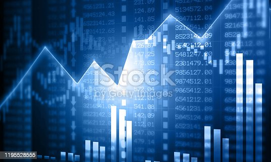 istock Financial stock market graph with candlestick chart 1195528555