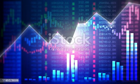 istock Financial stock market graph with candlestick chart 1195528559