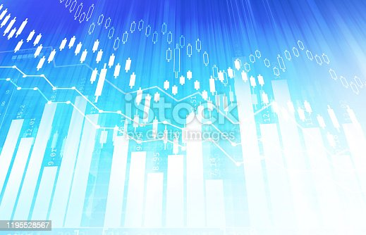 istock Financial stock market graph with candlestick chart 1195528567