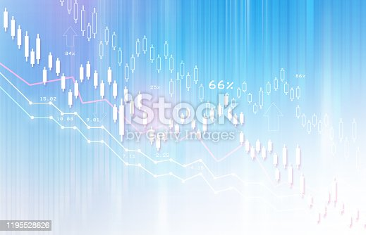istock Financial stock market graph with candlestick chart 1195528626