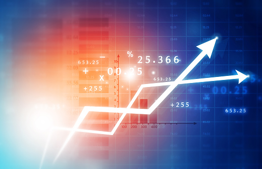 istock Financial stock market graphs and chart 1058256502