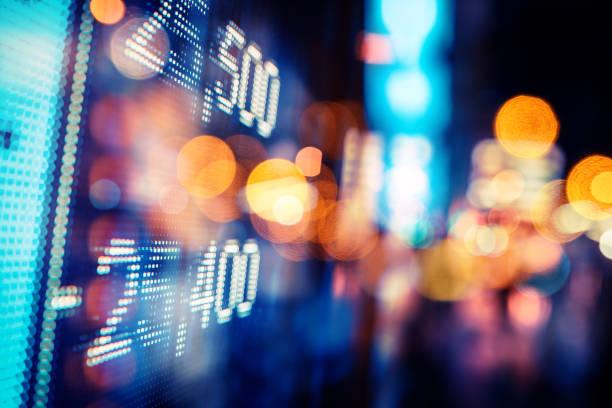 finanznostaktionswachstum auf dem vorgang - hang seng index stock-fotos und bilder