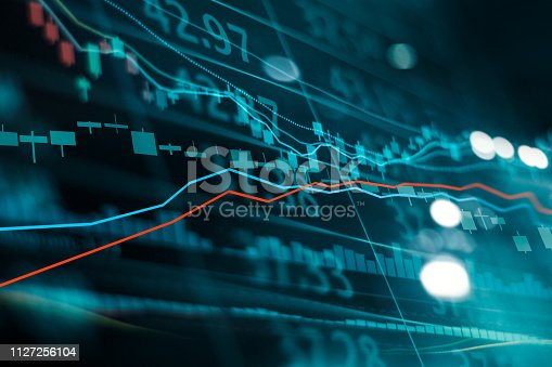 istock Financial stock market investment trading graph. Candle stick graph chart. Currency exchange rates. Bullish point, Bearish point. trend on technology abstract background 1127256104