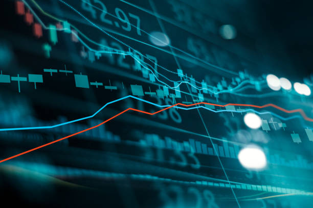 grafico delle negoziazioni di investimenti sul mercato azionario finanziario. grafico a bastone a candela. tassi di cambio. punto rialzista, punto ribassista. tendenza su tecnologia sfondo astratto - mercato luogo per il commercio foto e immagini stock