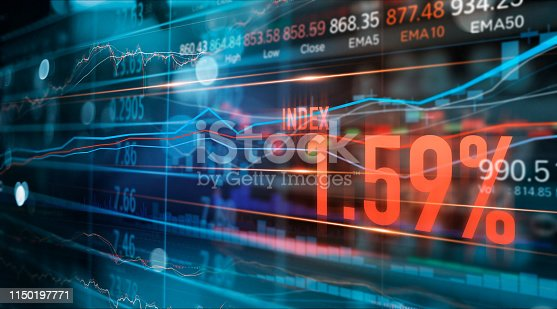 890150646 istock photo Financial stock market numbers and forex trading graph, business and stock market data, financial investment concept on technology abstract colorful background. 1150197771