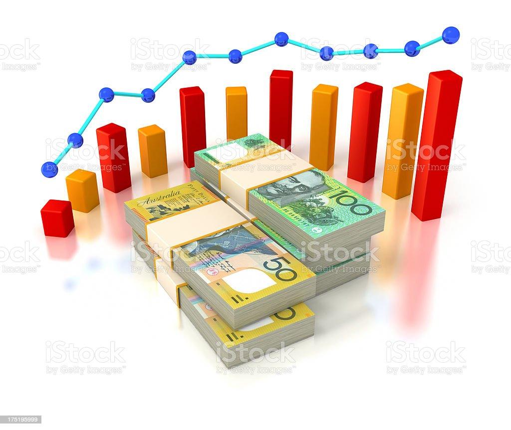 Financial succes, Australian Dollars and progress chart. royalty-free stock photo