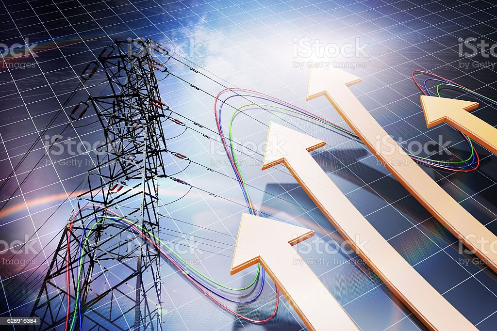 Financial success arrows and poles, high-voltage wires stock photo