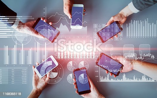 1154268620 istock photo Financial technology and mobile communication concept. Fintech. 1168365118