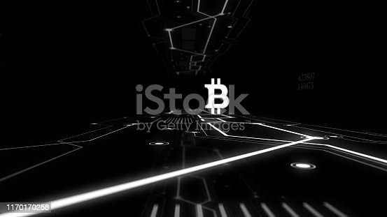 Bitcoin icon and electric circuit graphic dark background.