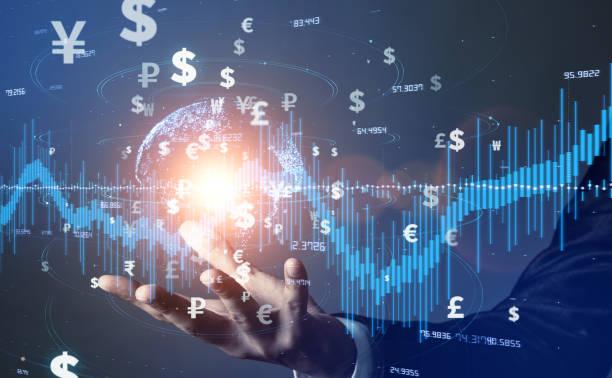 金融技術の概念。フィンテック。暗号通貨。電子マネーキャッシュレス決済。現代金融理論 - 投資家 ストックフォトと画像