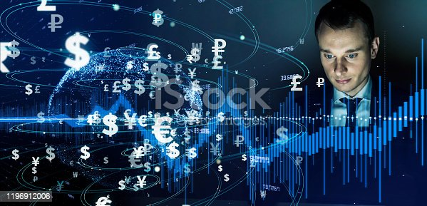 919567592 istock photo Financial technology concept. Fintech. Crypto currency. Electronic money. Cashless payment. 1196912006