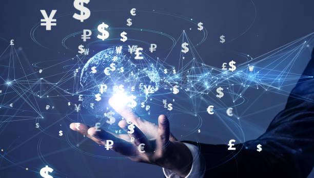 finans teknolojileri kavramı. fintech. döviz. - kripto para birimi stok fotoğraflar ve resimler