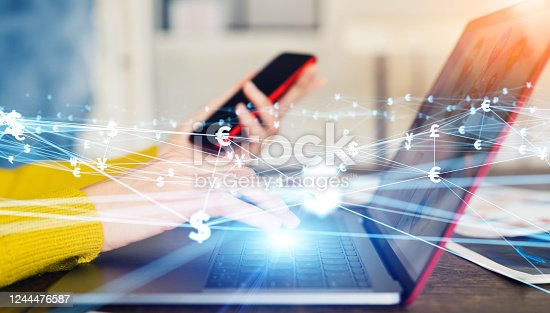 613550706 istock photo Financial technology concept. Fintech. Online banking. Foreign exchange. 1244476587