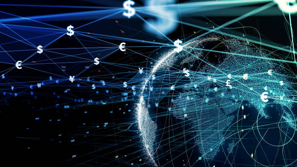 Financial technology concept. Fintech. Online banking. Foreign exchange. stock photo